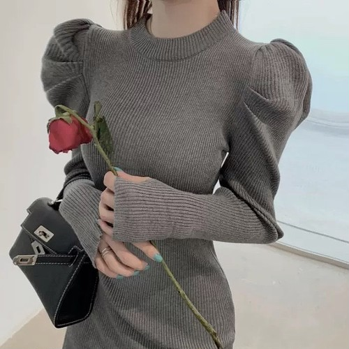 puff sleeve knit dress 2color