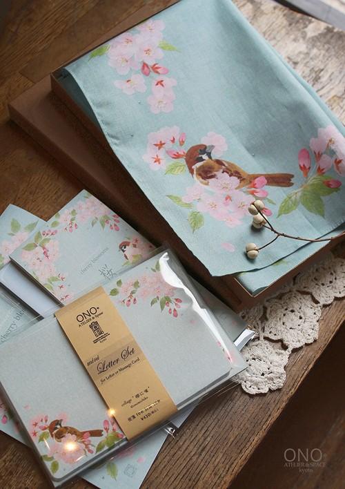 桜に雀 Giftセット(チーフ&ミニレターセット)