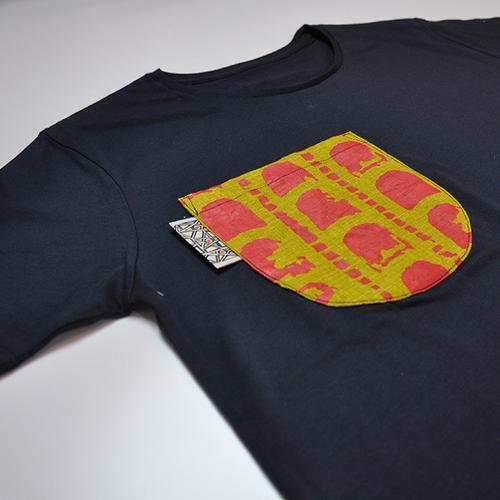 ポケットTシャツ 赤瓦柄(うぐいす色)