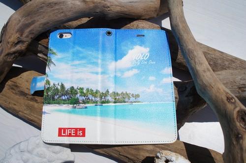 LIFE is 手帳型スマホケース(ビーチフォト)各iPhone5~8、Android S,M用 送料無料!