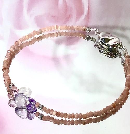 ラスト1点☆インカローズ☆宝石のフラワーブーケの美しい華奢ブレス