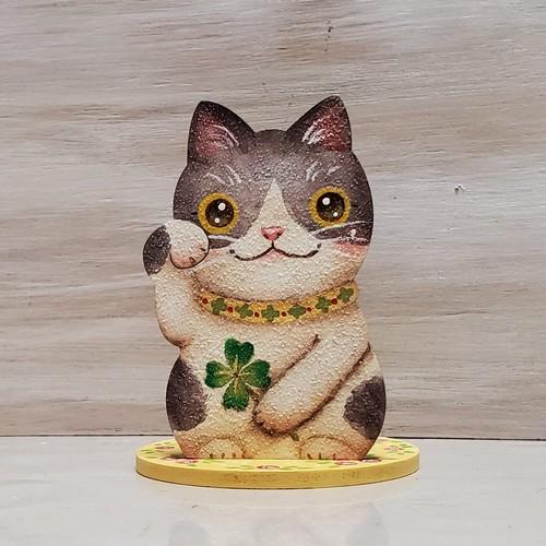 はちわれ猫の印鑑スタンド 四つ葉とバラ
