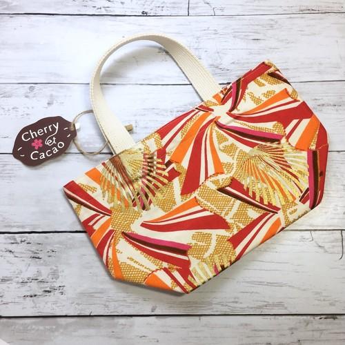 ランチトートバッグ アフリカンファブリック(日本縫製)リボン レッド アフリカ エスニック ガーナ布