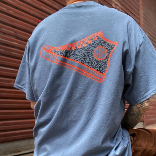 Elephant pattern sneaker tee BLUE GRAY