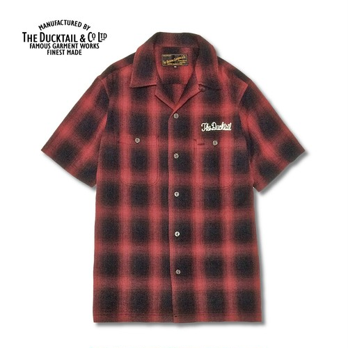 """DUCKTAIL CLOTHING """"RISE AGAIN"""" RED ダックテイル クロージング 半袖 チェックシャツ"""