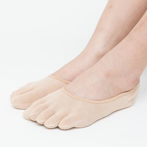 フットカバー 5本指 綿素材 レディース 靴下 滑り止め付き CA217