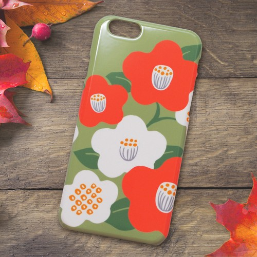 【S/Msize】和な雰囲気の椿のプラスマホケース #iPhoneX対応