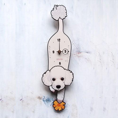 D-003 プードル(白)-犬の振り子時計