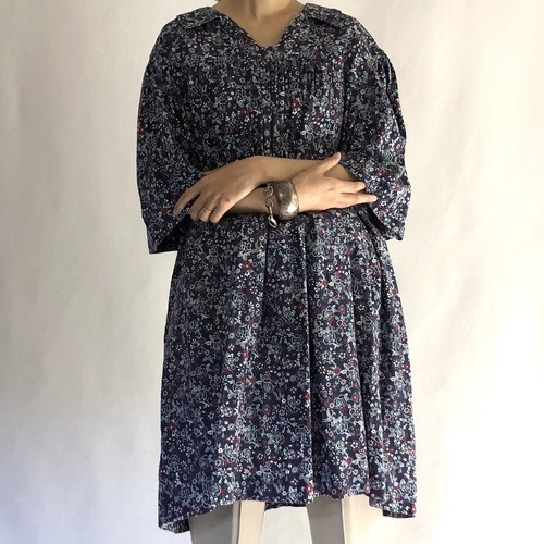 handcraft flower textile cotton shirt dress (V4980A)