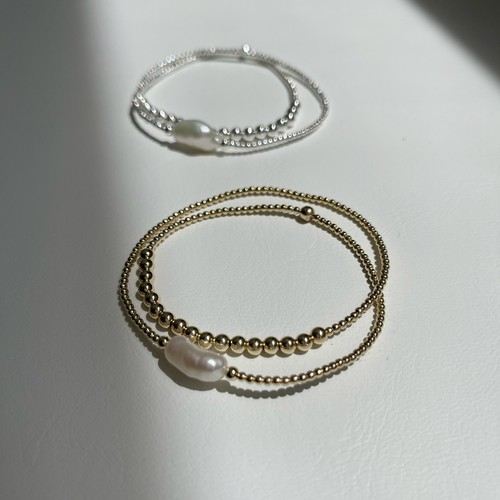 W-Loop Baroque Pearl & 14KGF Beads / 2201k / ストレッチ ループ ブレスレット