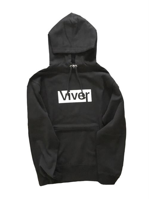 【viver day off】ボックスロゴプルパーカー Black×White