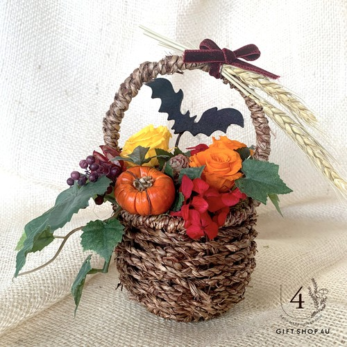 【ハロウィン2019】コウモリピック♡ウッドバッグ ハロウィンカラーのプリザーブドフラワーアレンジ  21