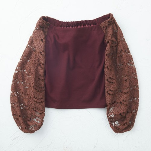 border lace off the sholder blouse/(brown)