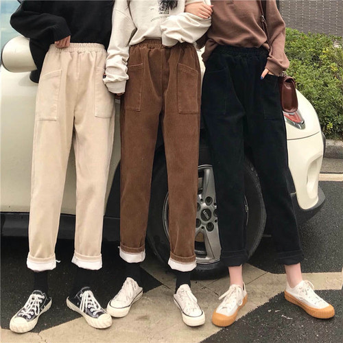 【送料無料】秋冬仕様 ♡ カジュアル コーデュロイ ウエストゴム テーパード パンツ ボトム
