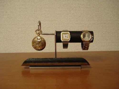 腕時計スタンド ブラック2本掛け腕時計、懐中時計スタンド ロングトレイ付き N12420