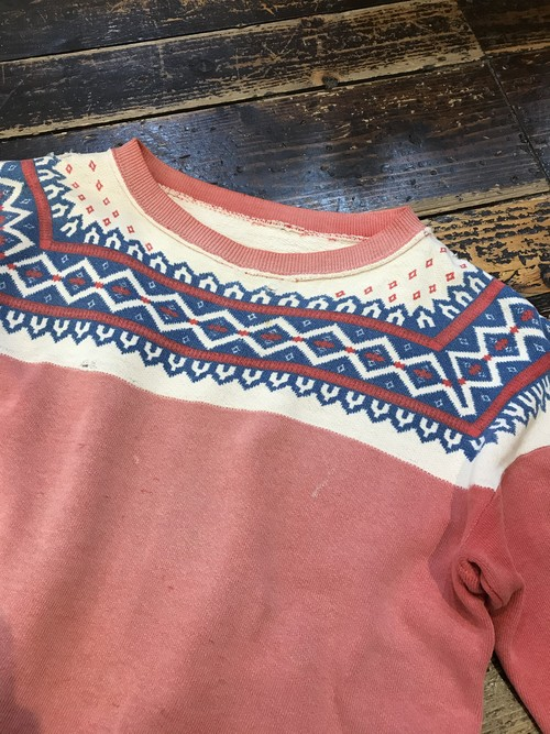 Vintage Snow Print Sweat Cutoff 雪柄スウェット