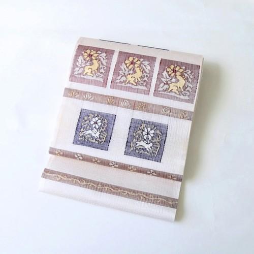 1878 新品◆未仕立て◆すくい織袋帯うさぎ 反物