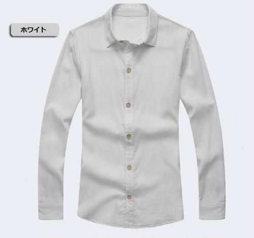 長袖リネンシャツ ホワイト/グレー