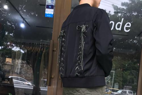 【SALE】レースアップMA-1ジャケット【&mode】