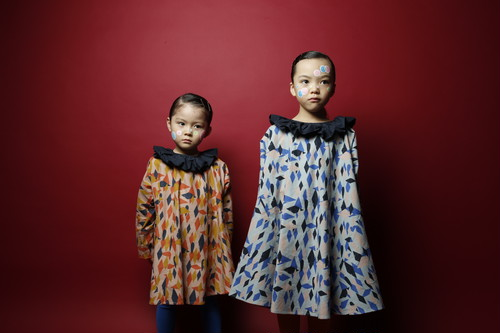 30%off  circus print flannel dress ピンクプリント