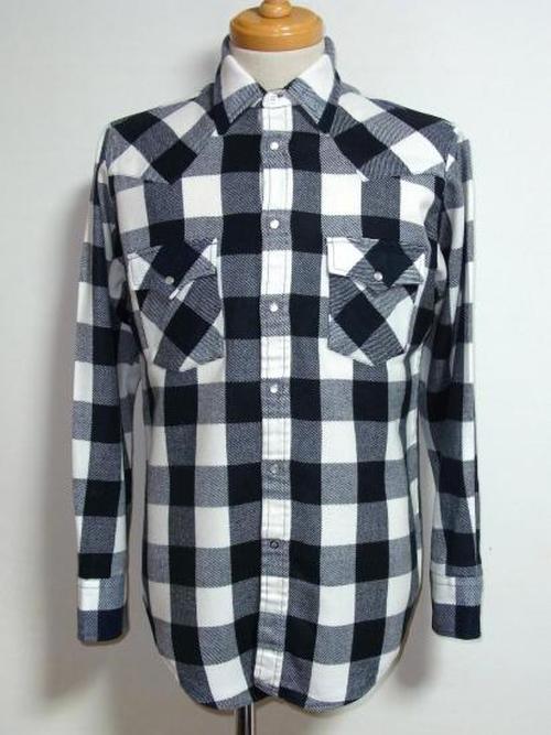 1990's バッファローチェックウエスタンシャツ 黒×白 表記(M)