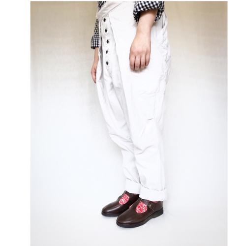 【受注生産】天然牛革 オイルレザーのTストラップ靴(レディース/濃茶)