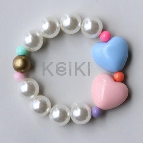 Children's Bracelet - Hearts Pink Blue キッズブレスレット keikitheshop