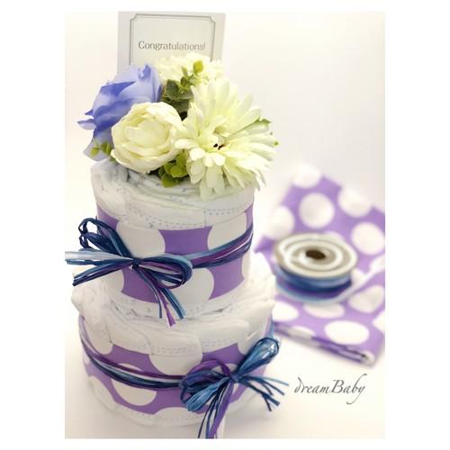 Dotty Blue/ドット柄 ブルー 2段ダイパーケーキ(おむつケーキ)