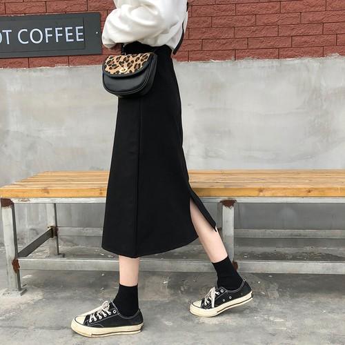 【ボトムス】無地レトロ スリットハイウエストAラインスカート26677240