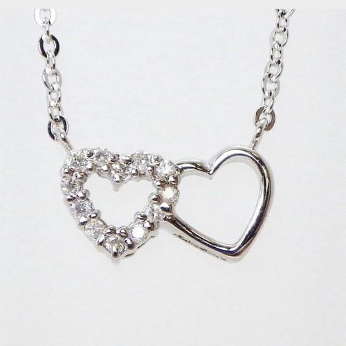 ❤︎天然ダイヤモンド ダブルハート ネックレス❤︎ペンダント