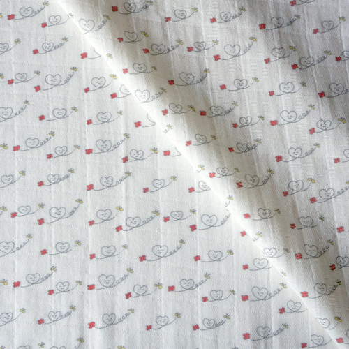 【オーガニックコットン ダブルガーゼ】ハートニコちゃん 98cm単位(幅142cm):受注生産