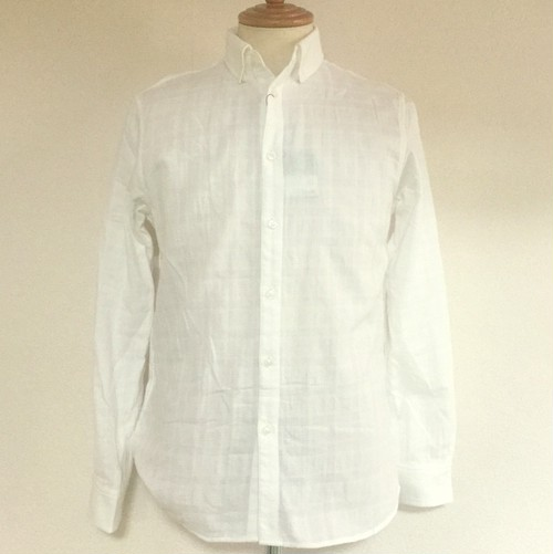 Double Gauze Shadow Check Shirts White