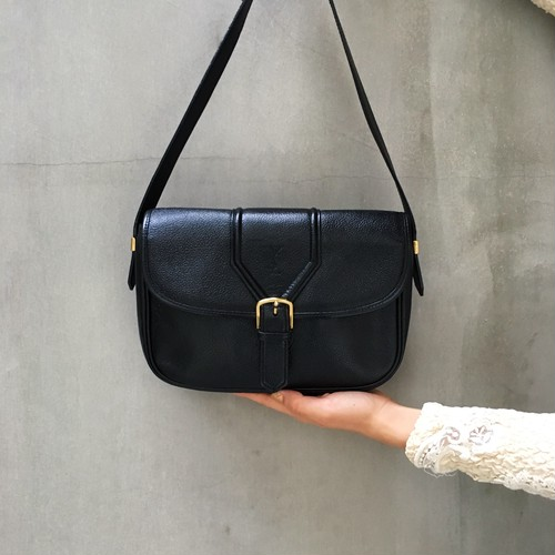 Yves Saint Laurent black squared shoulder bag