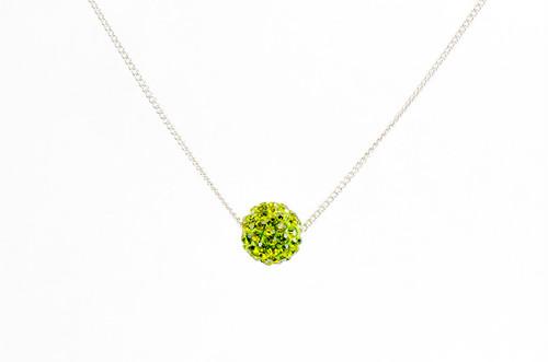 ラインストーンパヴェボールネックレス pve-neckolive1 オリーブ(黄緑) パヴェ キラキラ