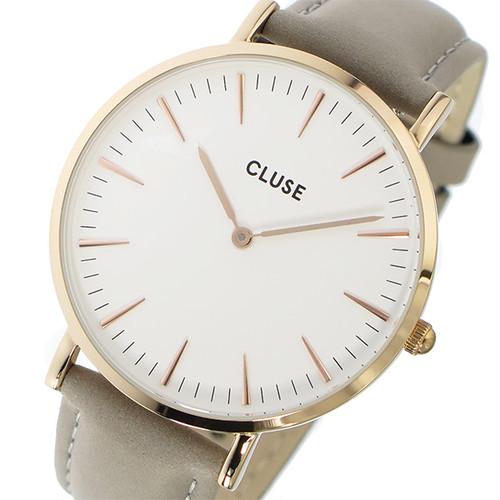 クルース CLUSE ラ・ボエーム レザーベルト 38mm レディース 腕時計 CL18015 グレー ホワイト