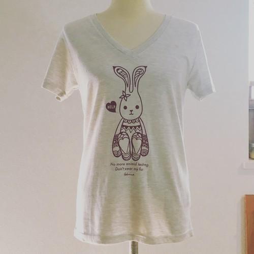うさぎさん VネックTシャツ [No Fur] [No Animal Testing]