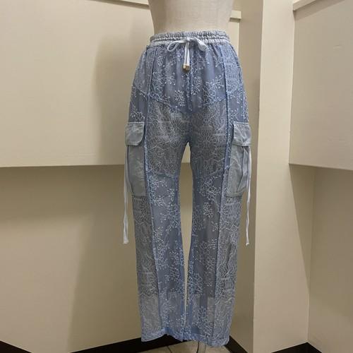 【RehersalL】side pocket lace pants (sax)/【リハーズオール】サイドポケットレースパンツ(サックス)