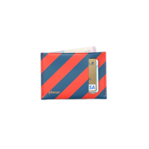 planar Card Case S -Red and Blue Stripes-