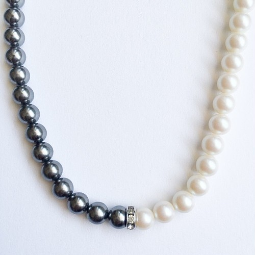"""""""Monet"""" gray & white pearl necklace[n-229]"""