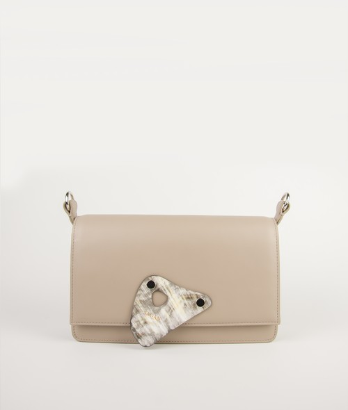 CROSSBODY M BASIC STRAP HORN HANDLE_BEIEGE-TAUPE_with HORN