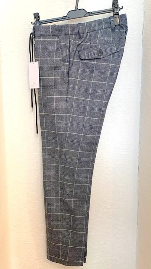 Check Stretch Slacks Pants Charcoal Check