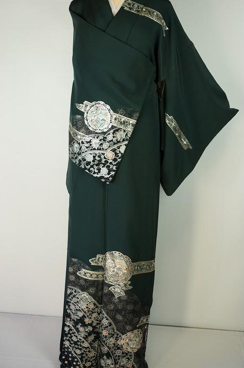 銀泥 洋風華紋 唐花 正絹  深緑 320