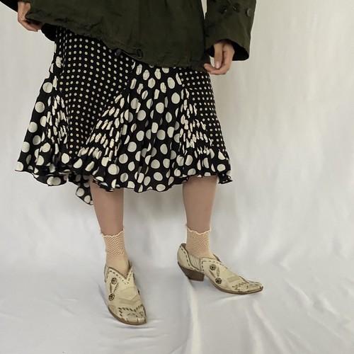 multi dot design silk skirt