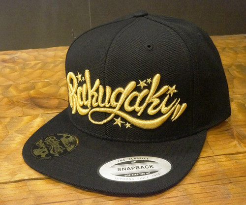 RAKUGAKI Main logo Snap Back Cap Black x Gold