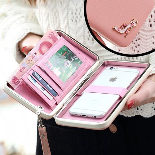 ハイヒール 財布型 レザー ウォレット iPhone スマホ ポーチ ケース ( ブラック ピンク パープル ) バッグ 多機能 フリーサイズ [NW351]
