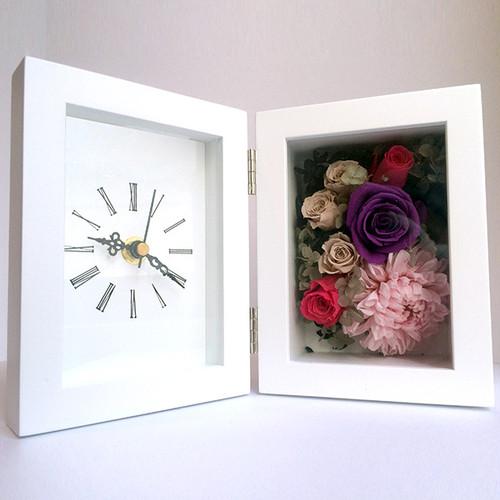 置き時計アレンジ Roseと芍薬
