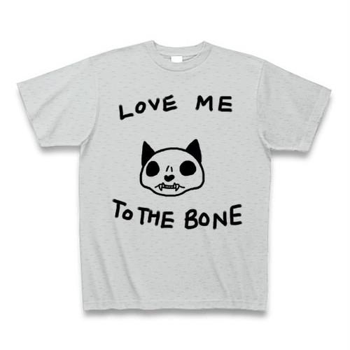 [送料込]ねこのもりオリジナル 骨まで愛してTシャツ クルーネック グレー