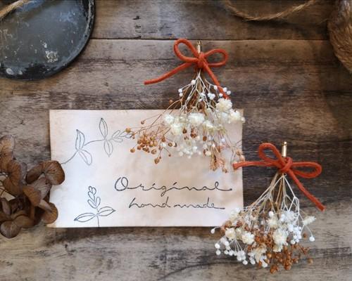 樹脂ピアス「キャラメルマキアート」お花とリボンのピアス&イヤリング_カフェシリーズ