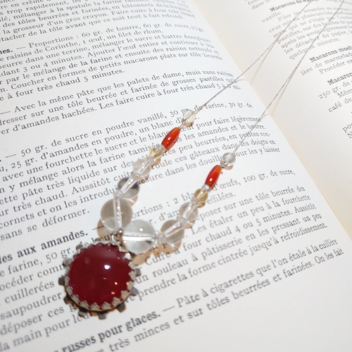 ネックレス 赤 メノウ 水晶 シトリン 〜 太陽と生命力をイメージさせるペンダント