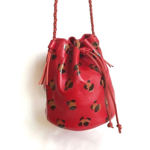【SALE】Leopard Drawstring Bag 《dark red》
